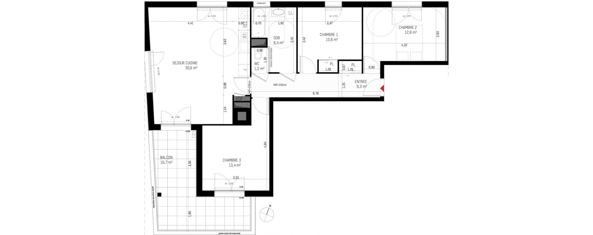 Appartement T4 de 84,30 m2 à Cesson-Sévigné Viasilva