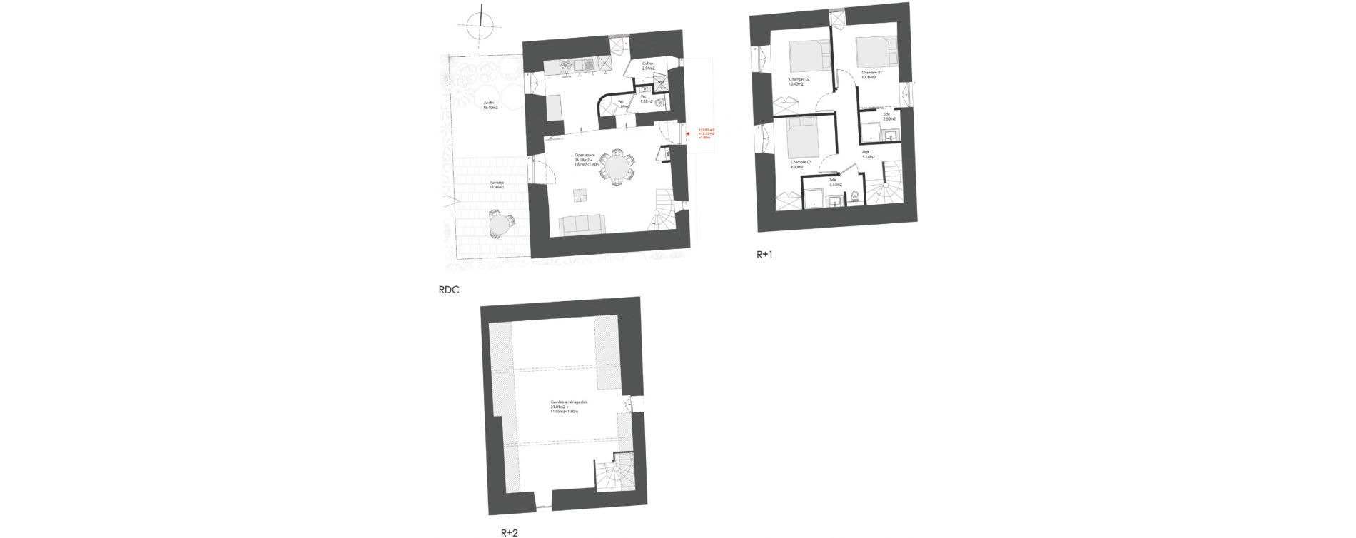 Triplex T4 bis de 113,92 m2 à Dinard Centre