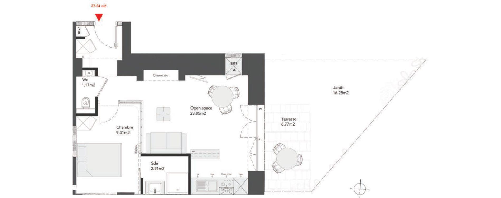 Appartement T2 de 37,24 m2 à Dinard Centre