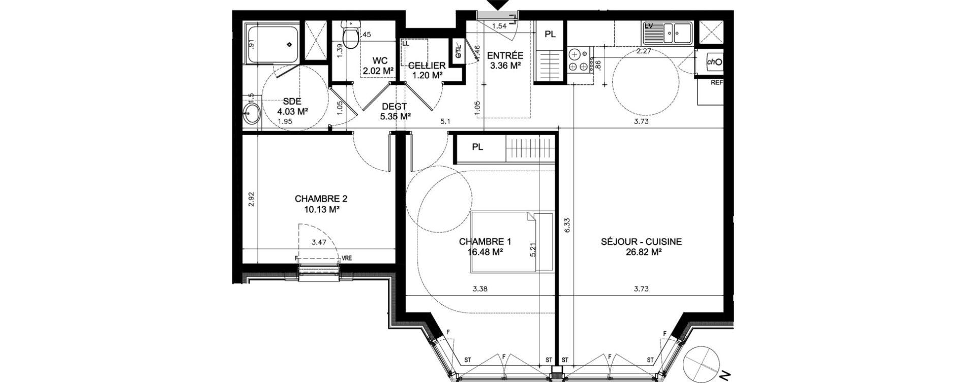 Appartement T3 de 69,39 m2 à Dinard Dinard centre ville