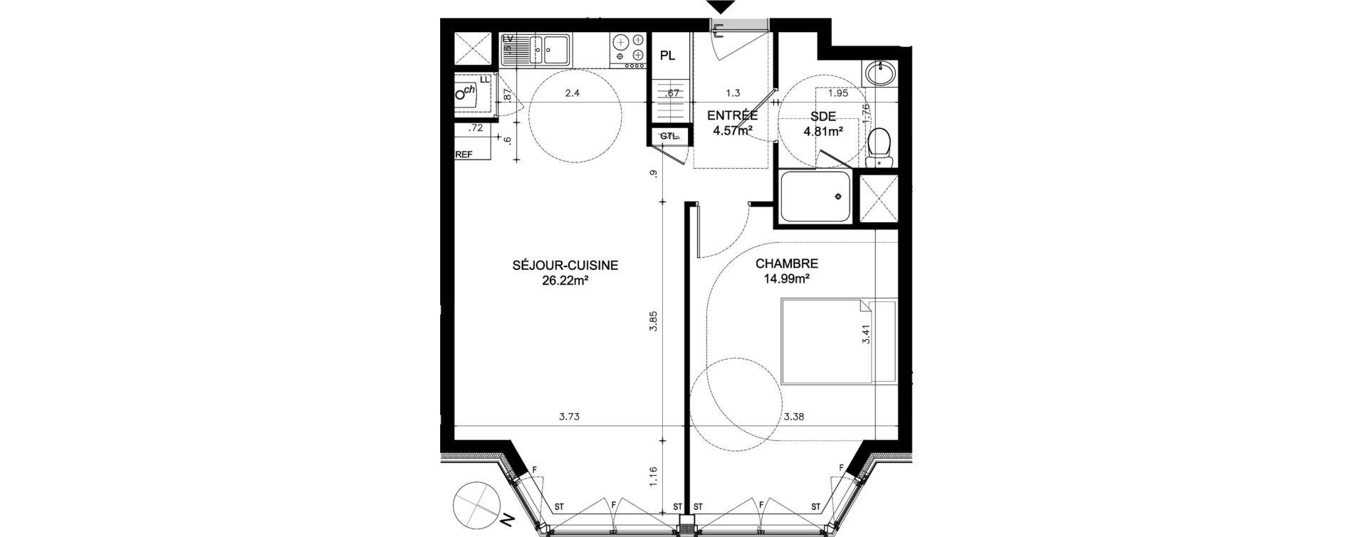 Appartement T2 de 50,59 m2 à Dinard Dinard centre ville