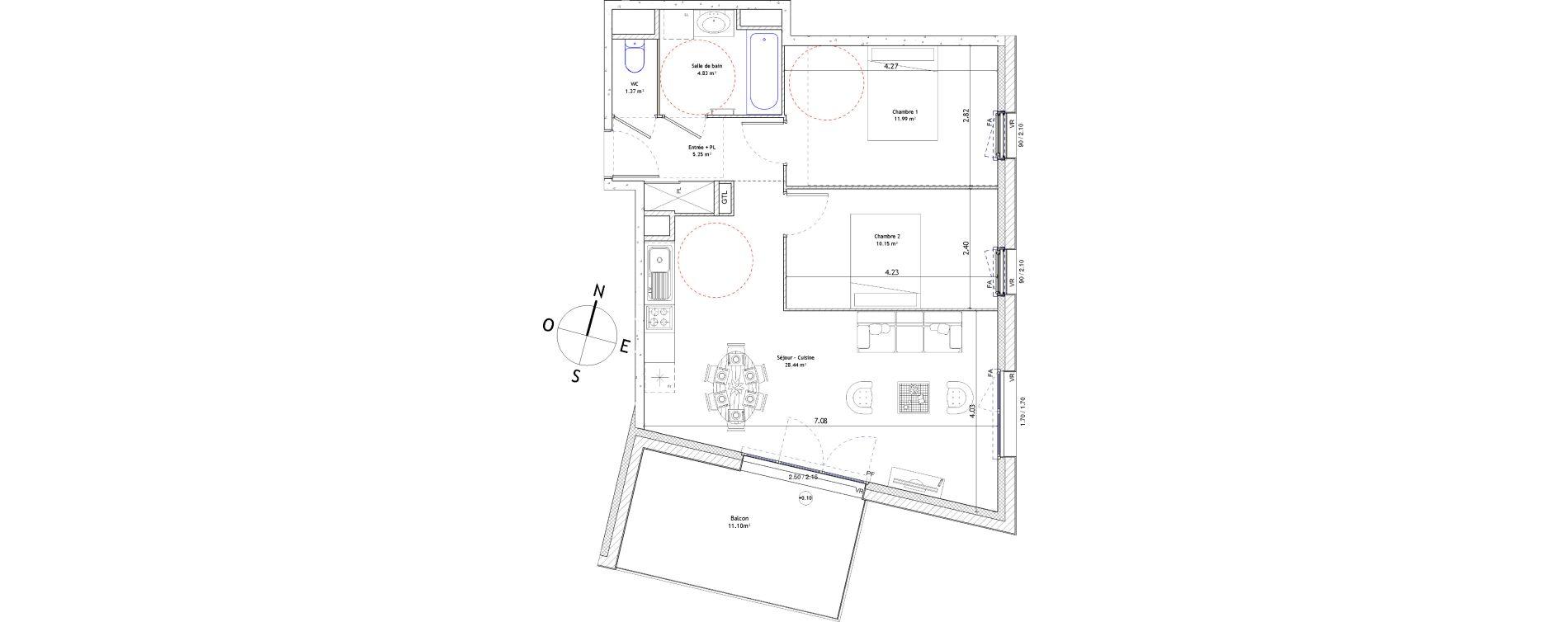Appartement T3 de 62,03 m2 à Fougères Centre