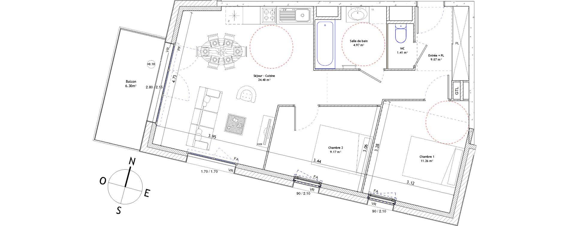 Appartement T3 de 60,28 m2 à Fougères Centre