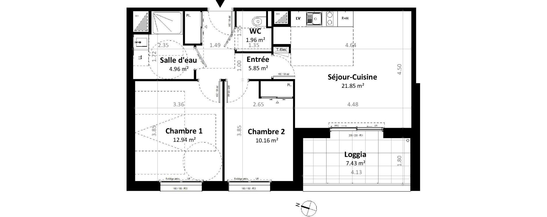 Appartement T3 de 57,71 m2 à Gévezé Centre