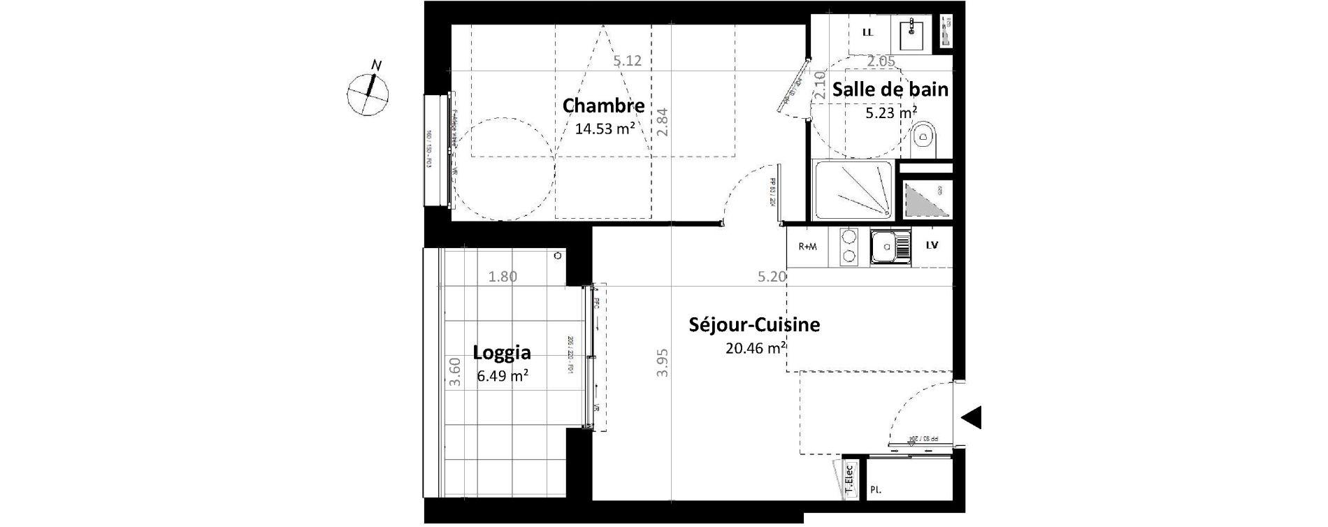 Appartement T2 de 40,23 m2 à Gévezé Centre