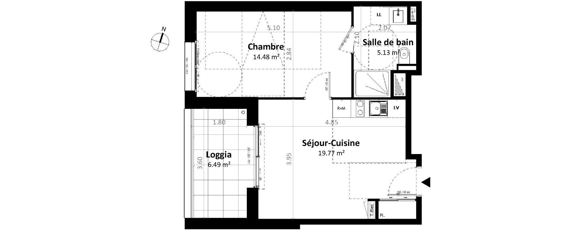 Appartement T2 de 39,39 m2 à Gévezé Centre