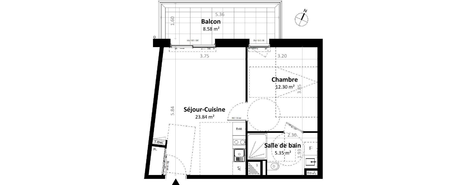 Appartement T2 de 41,49 m2 à Gévezé Centre