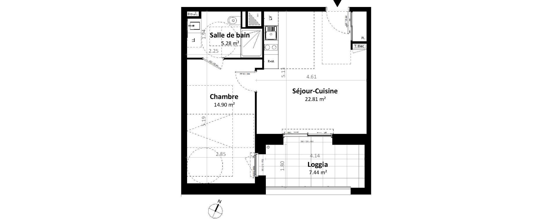 Appartement T2 de 42,99 m2 à Gévezé Centre