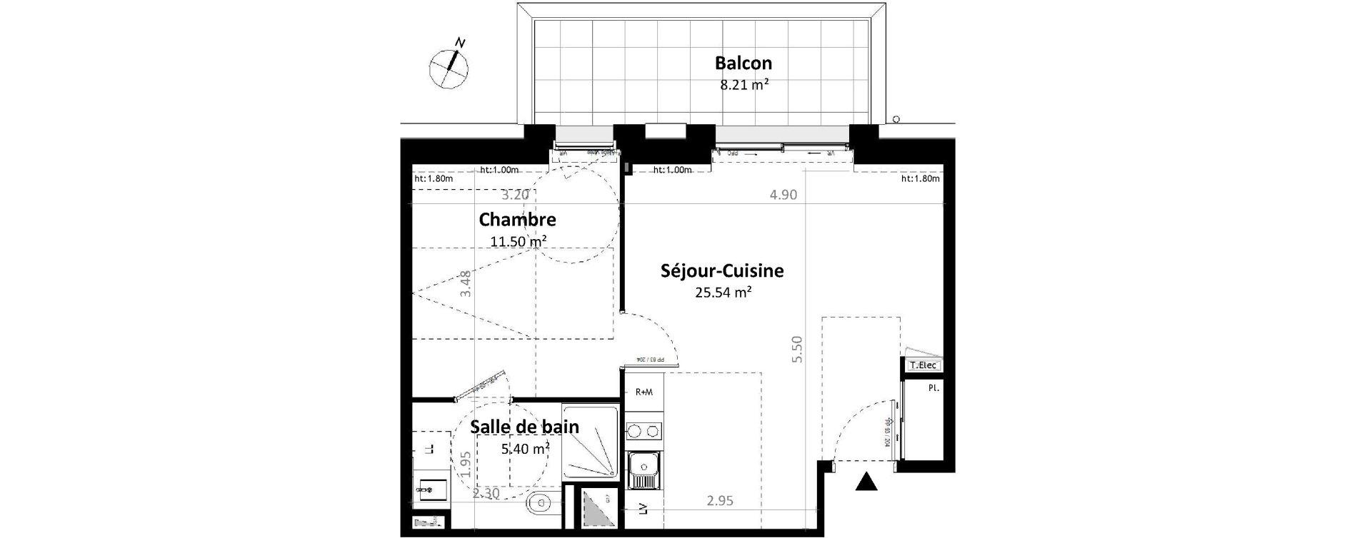 Appartement T2 de 42,45 m2 à Gévezé Centre