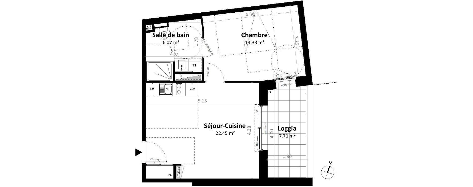 Appartement T2 de 42,84 m2 à Gévezé Centre
