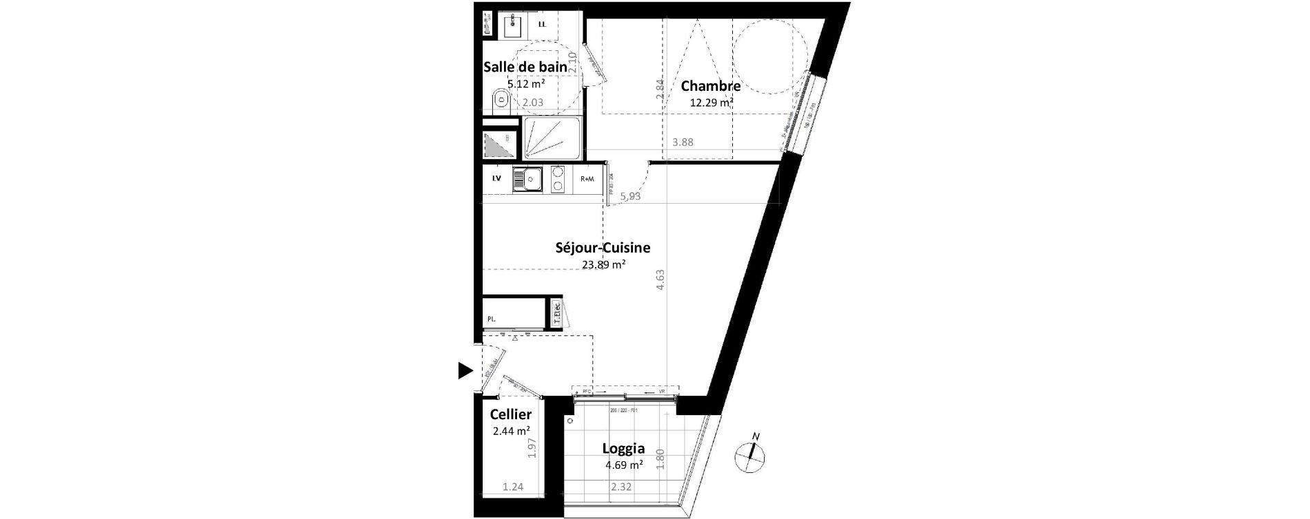 Appartement T2 de 43,74 m2 à Gévezé Centre