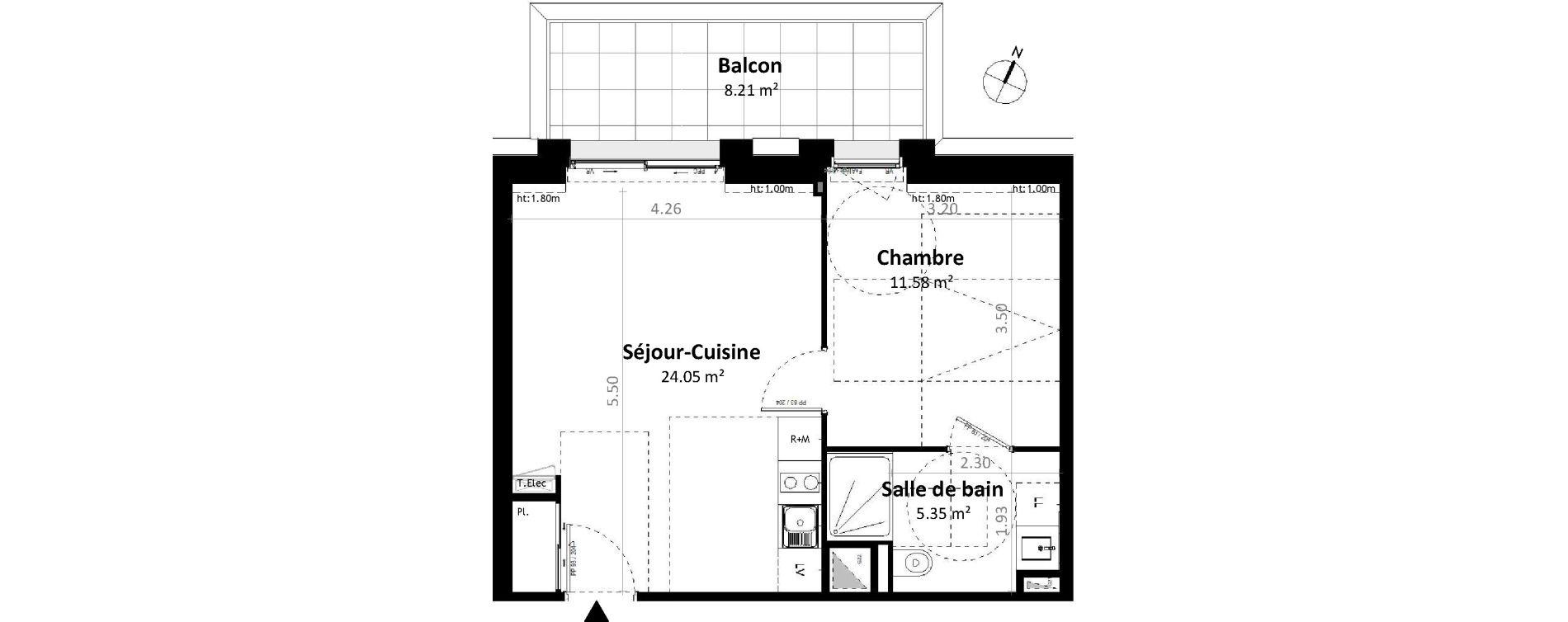 Appartement T2 de 40,97 m2 à Gévezé Centre