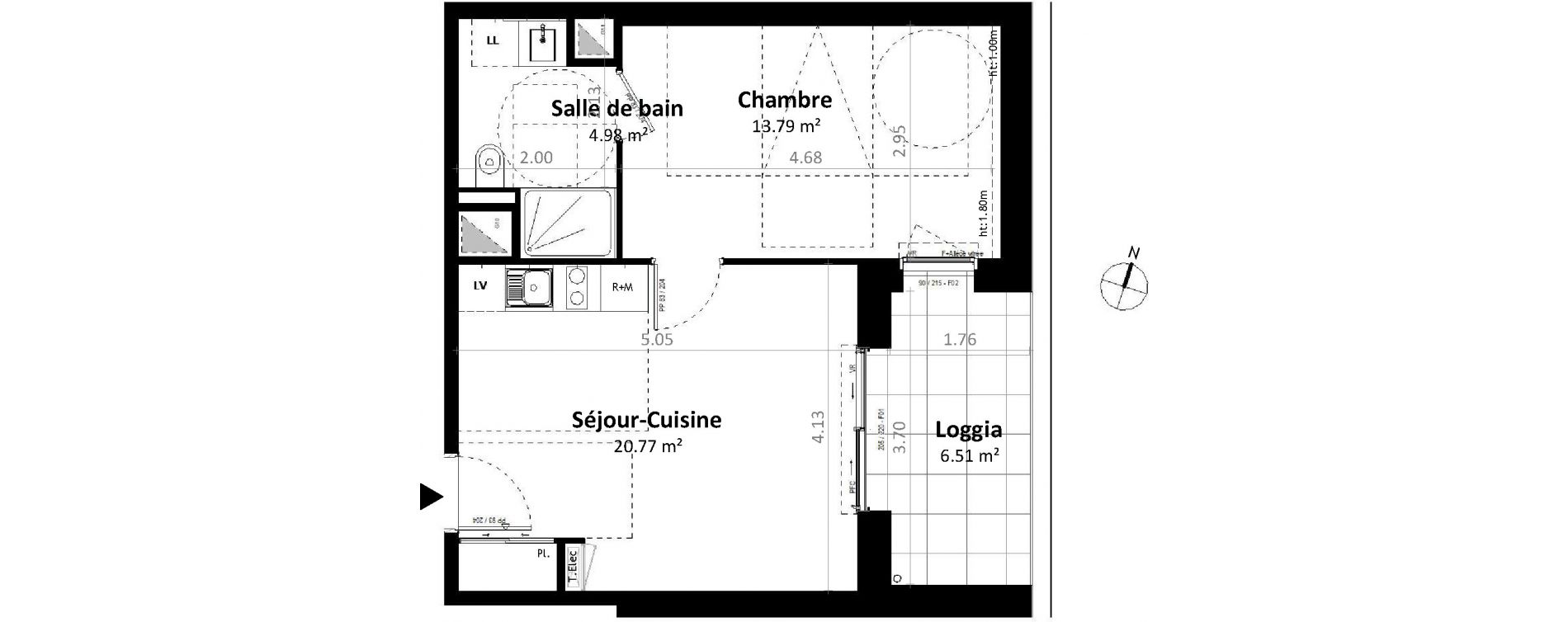Appartement T2 de 39,54 m2 à Gévezé Centre