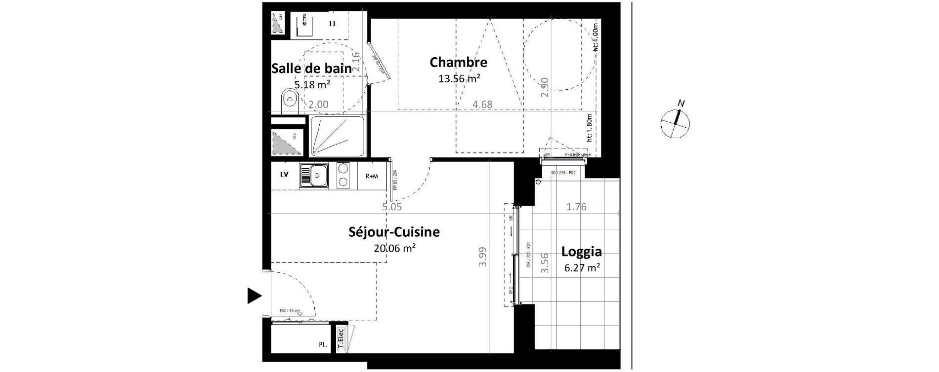 Appartement T2 de 38,80 m2 à Gévezé Centre