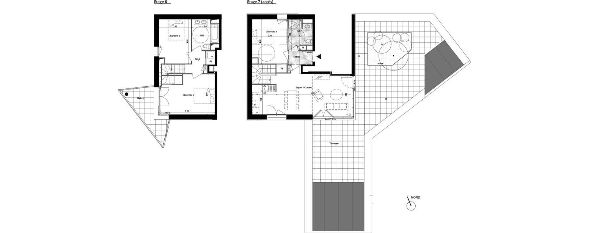 Duplex T4 de 92,17 m2 à Rennes Rennes beauregard
