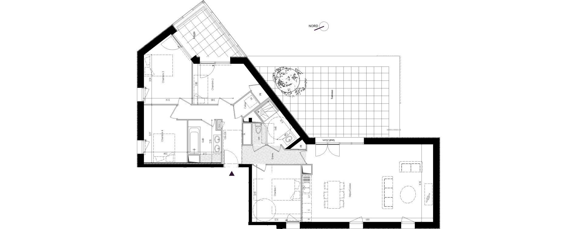 Appartement T5 de 113,42 m2 à Rennes Rennes beauregard