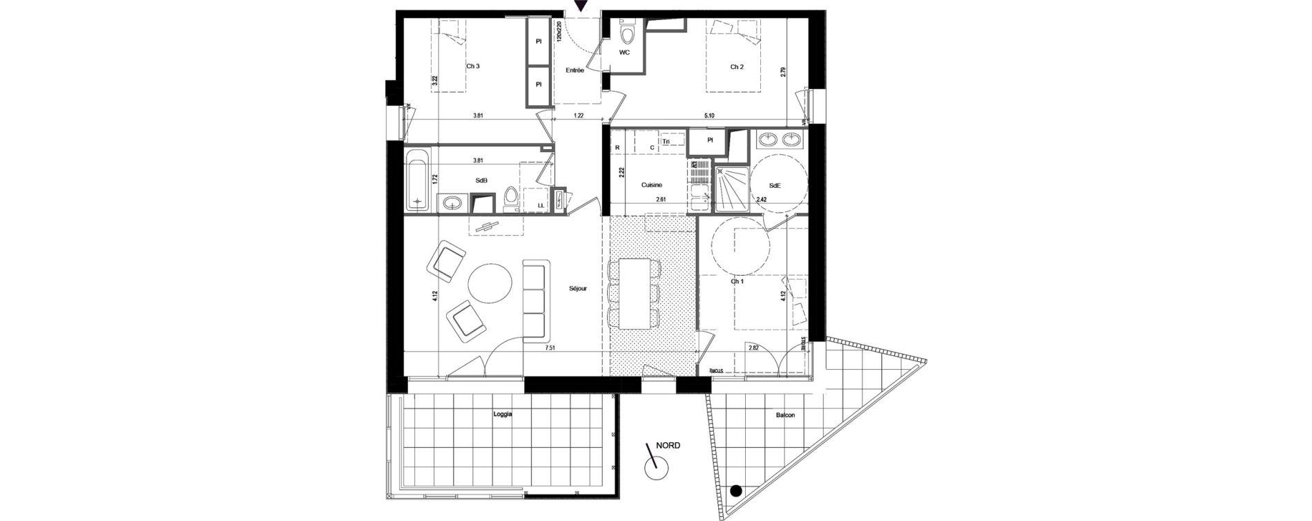 Appartement T4 de 90,63 m2 à Rennes Rennes beauregard