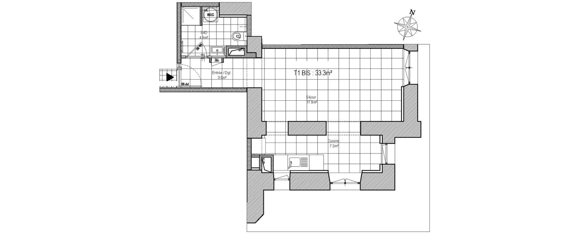 Appartement T1 bis de 33,30 m2 à Rennes Atalante beaulieu