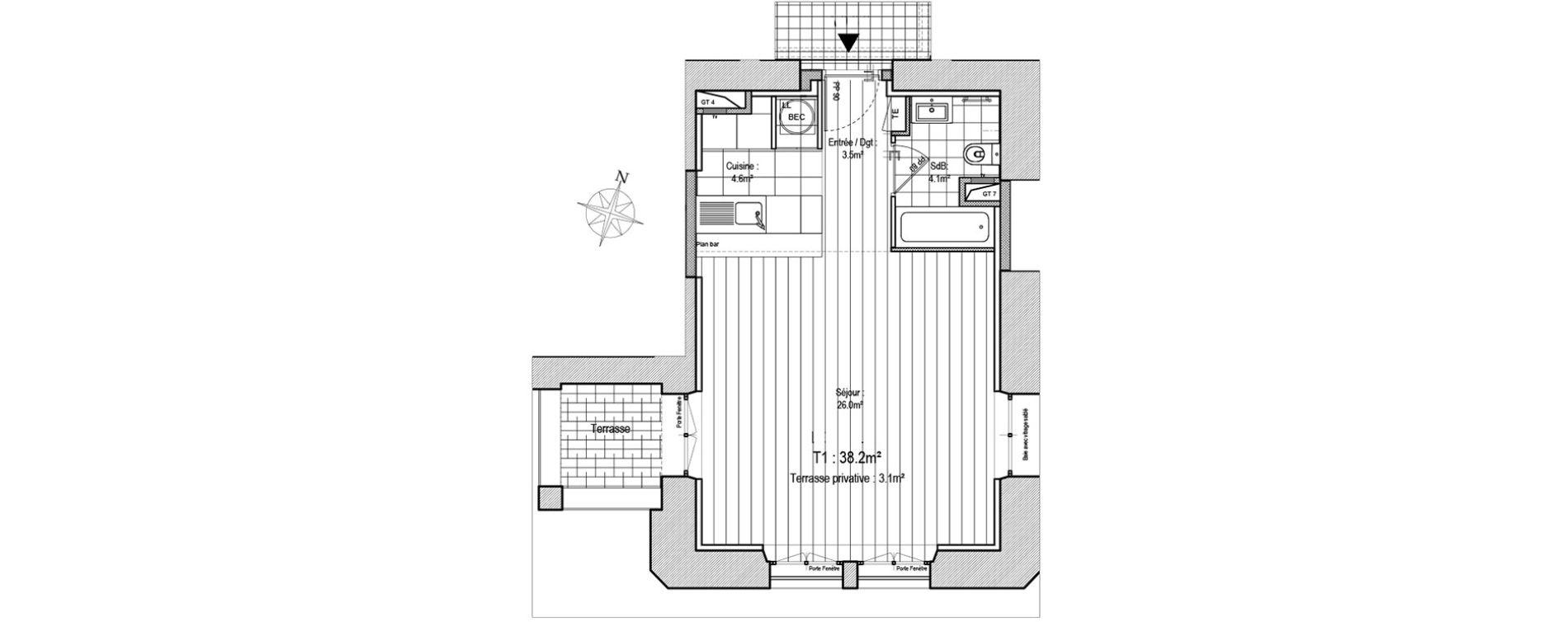 Appartement T1 de 38,20 m2 à Rennes Atalante beaulieu