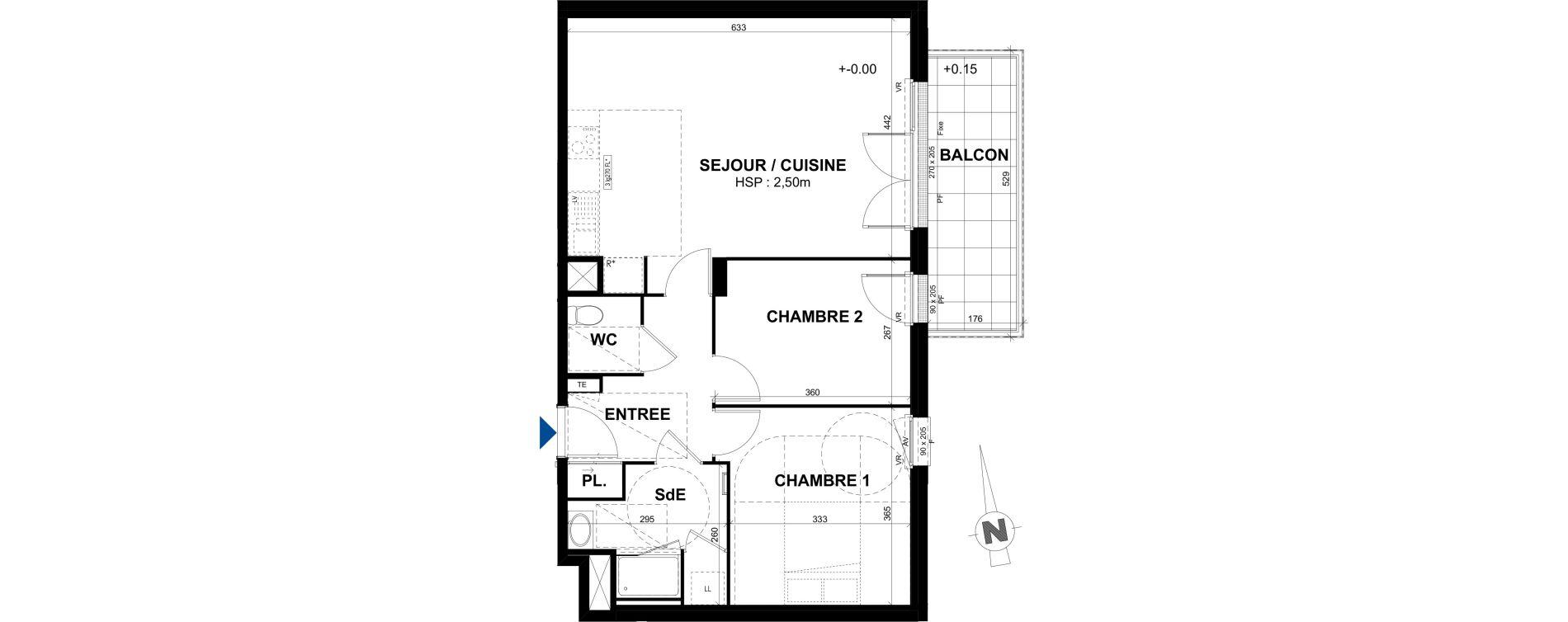 Appartement T3 de 65,46 m2 à Rennes Bréquigny