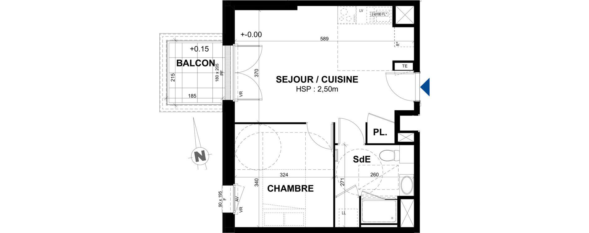 Appartement T2 de 39,85 m2 à Rennes Bréquigny