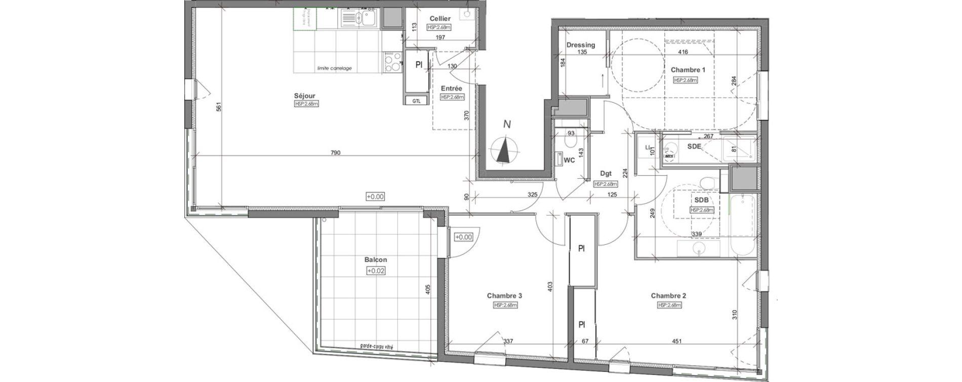 Appartement T4 de 106,62 m2 à Rennes Arsenal - redon