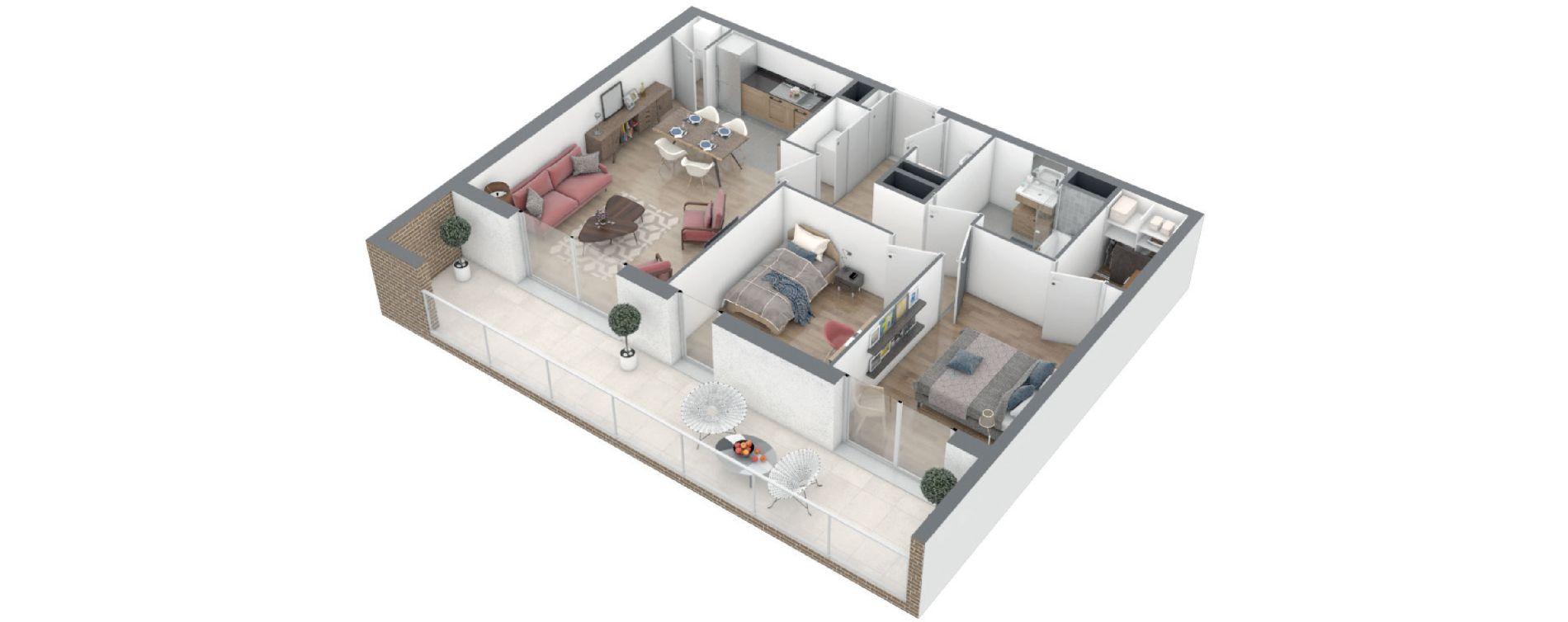Appartement T3 de 65,85 m2 à Rennes Arsenal - redon