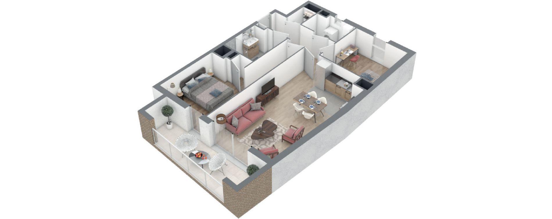 Appartement T3 de 67,24 m2 à Rennes Arsenal - redon