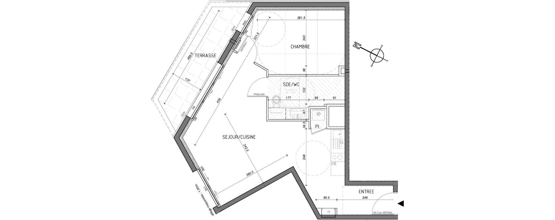 Appartement T2 de 46,54 m2 à Rennes Saint-martin