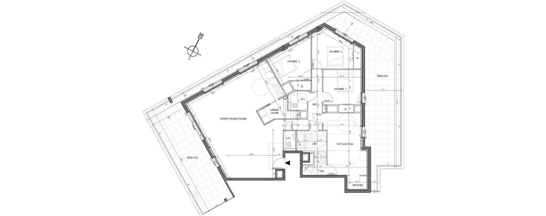 Appartement T5 de 129,11 m2 à Rennes Saint-martin