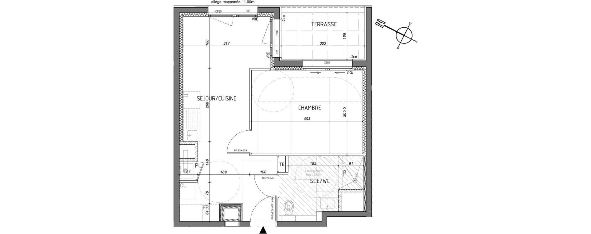 Appartement T2 de 38,82 m2 à Rennes Saint-martin