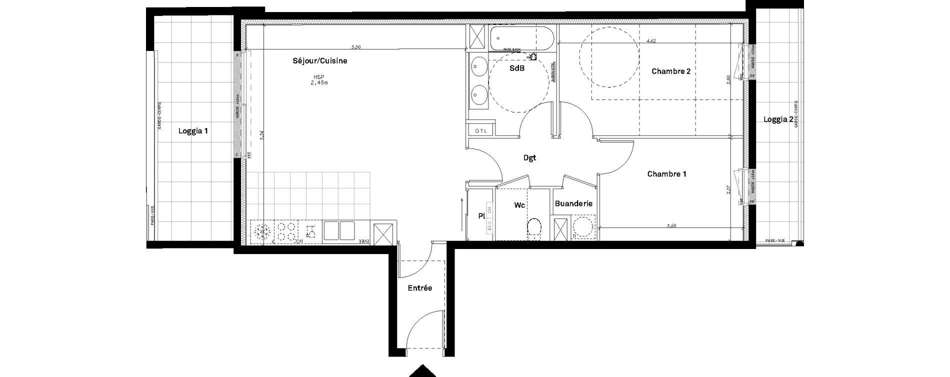 Appartement T3 de 68,42 m2 à Rennes Jeanne d'arc
