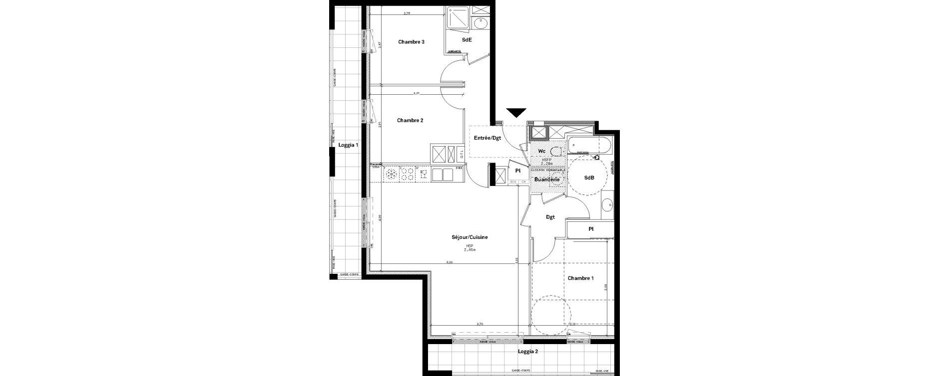 Appartement T4 de 82,19 m2 à Rennes Jeanne d'arc