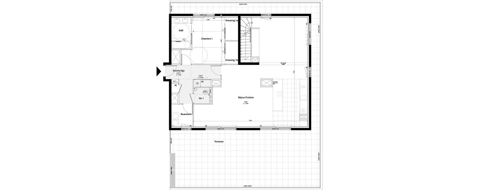 Duplex T4 de 147,19 m2 à Rennes Jeanne d'arc