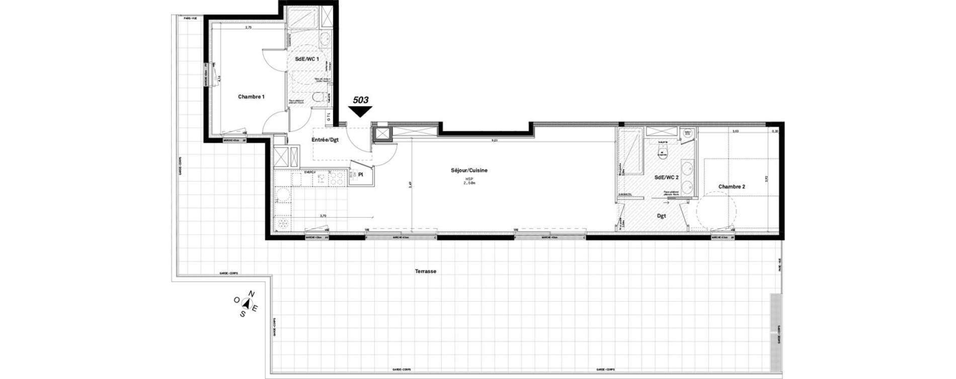 Appartement T3 de 86,40 m2 à Rennes Jeanne d'arc
