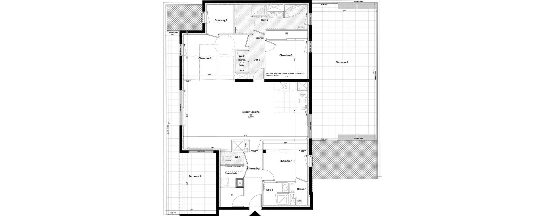 Appartement T5 de 119,11 m2 à Rennes Jeanne d'arc