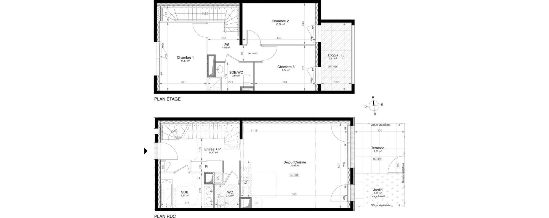 Appartement T4 de 92,49 m2 à Saint-Jacques-De-La-Lande La morinais