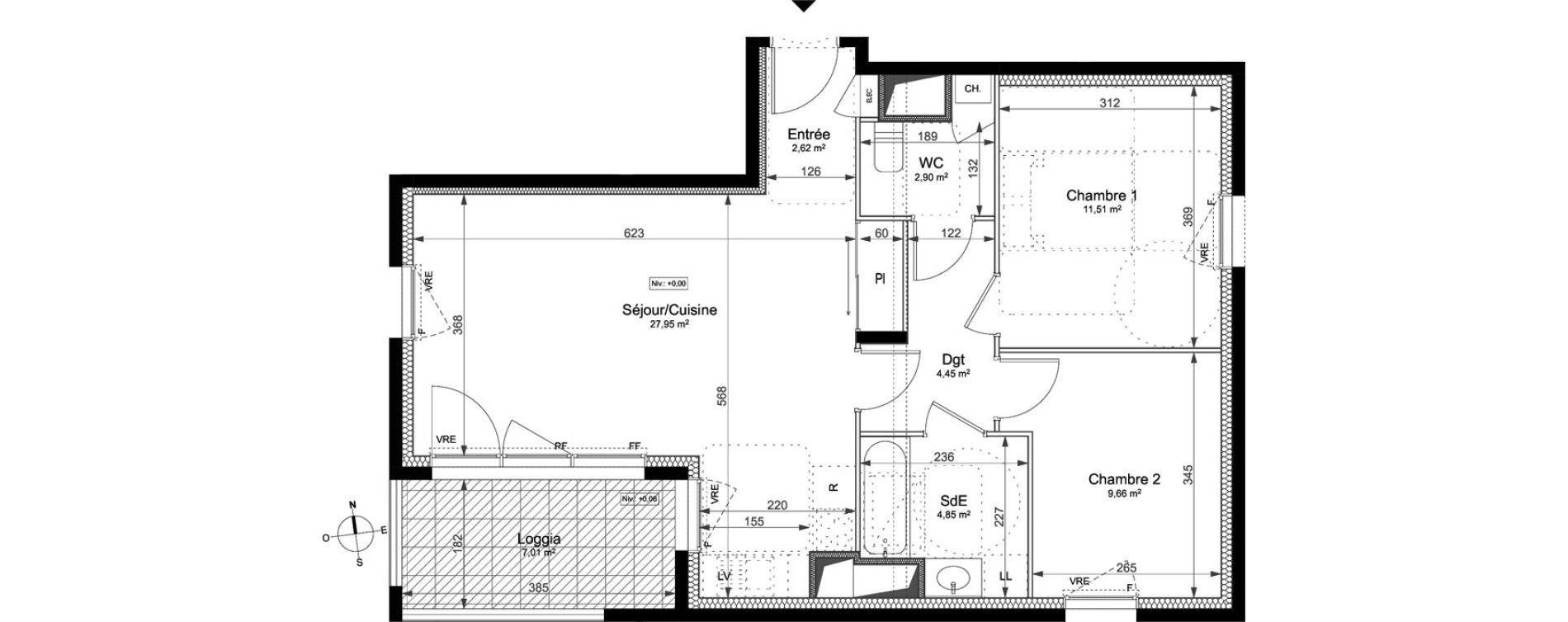 Appartement T3 de 63,94 m2 à Saint-Jacques-De-La-Lande La morinais
