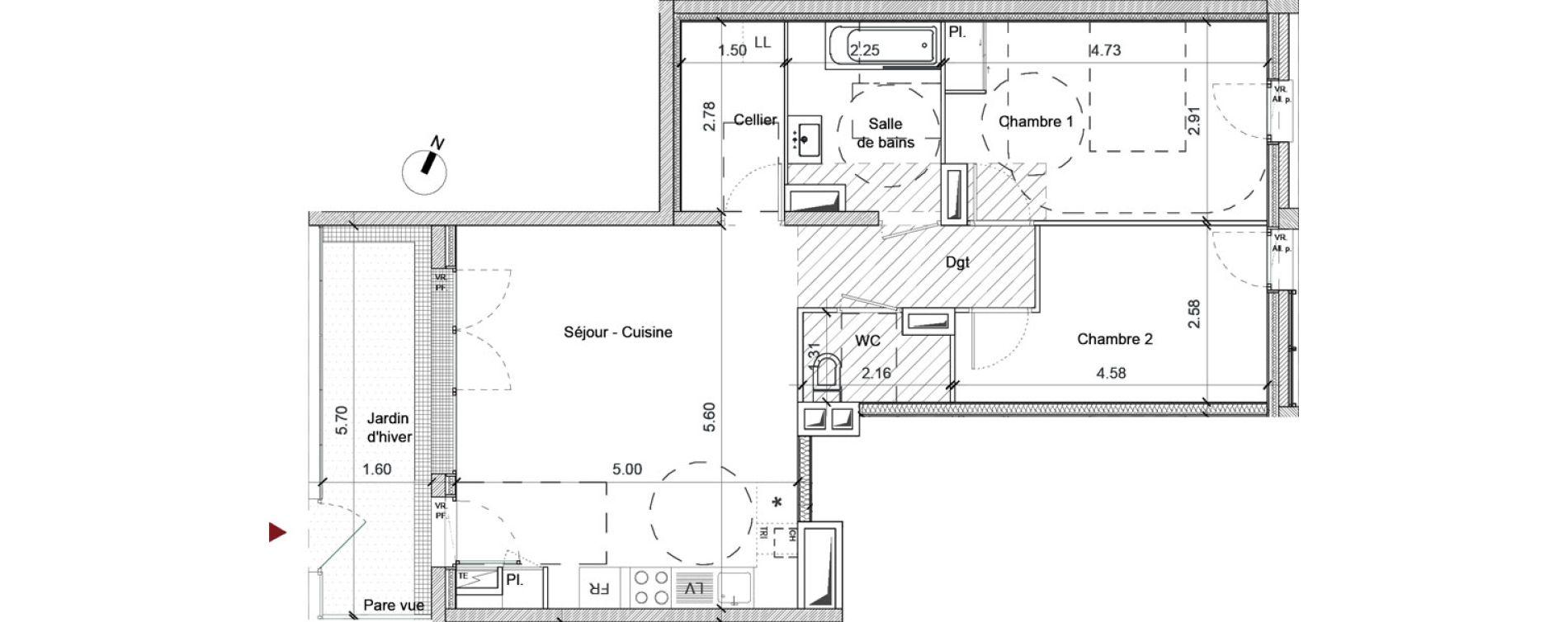 Appartement T3 de 68,09 m2 à Saint-Jacques-De-La-Lande Centre