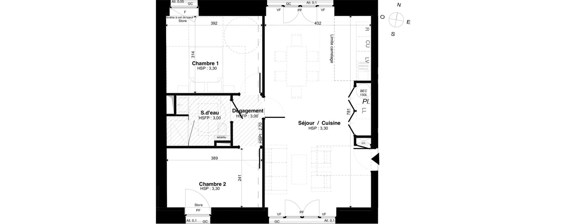 Appartement T3 de 65,62 m2 à Saint-Malo Intra-muros