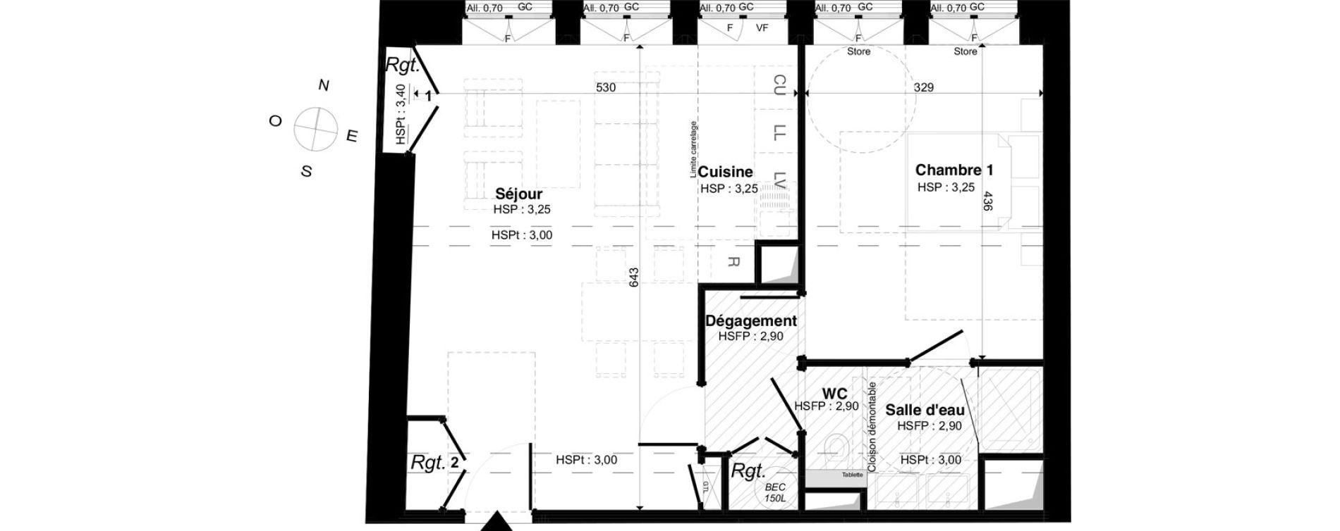 Appartement T2 de 53,36 m2 à Saint-Malo Intra-muros