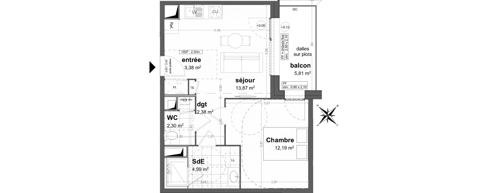 Appartement T2 de 39,11 m2 à Saint-Malo Saint-servan - solidor