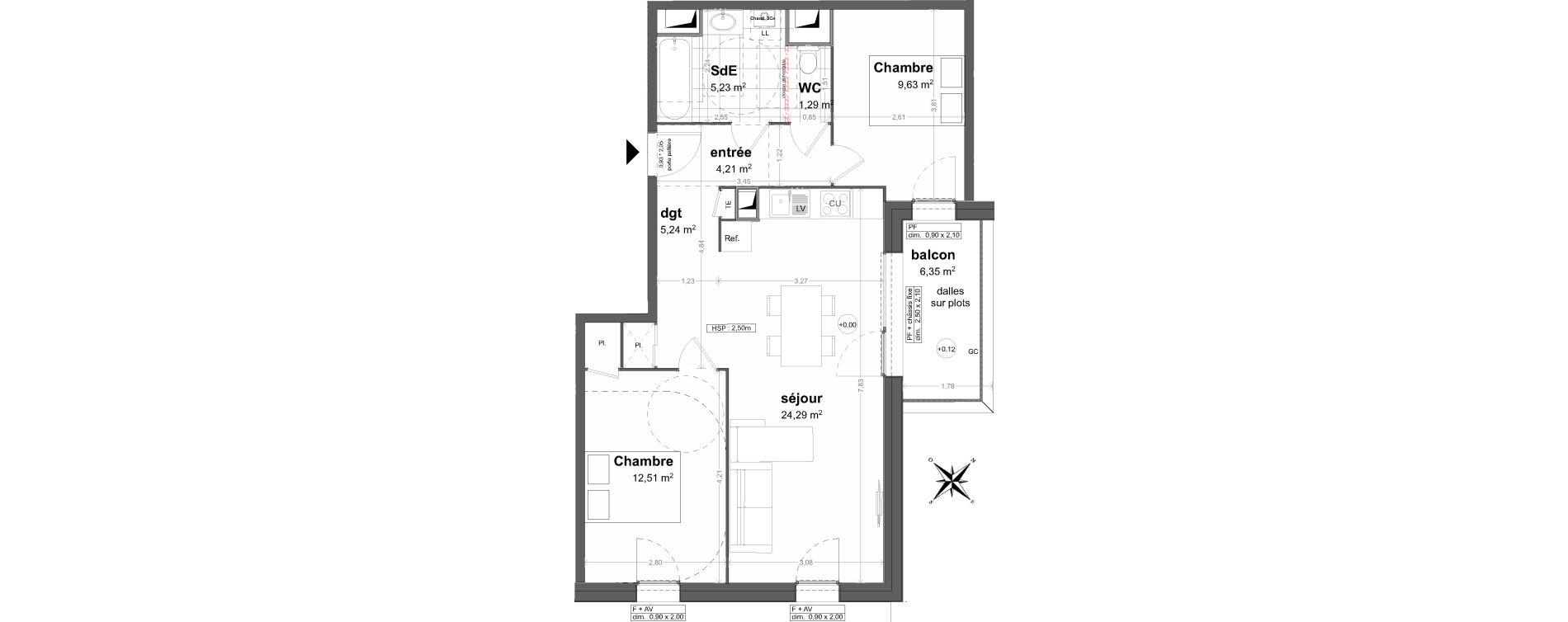 Appartement T3 de 62,40 m2 à Saint-Malo Saint-servan - solidor