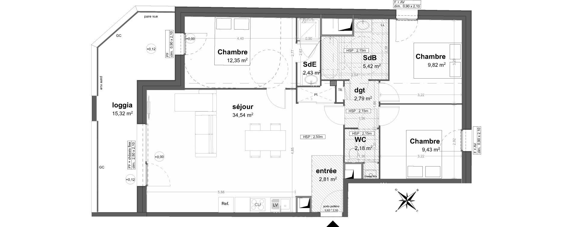 Appartement T4 de 81,77 m2 à Saint-Malo Saint-servan - solidor