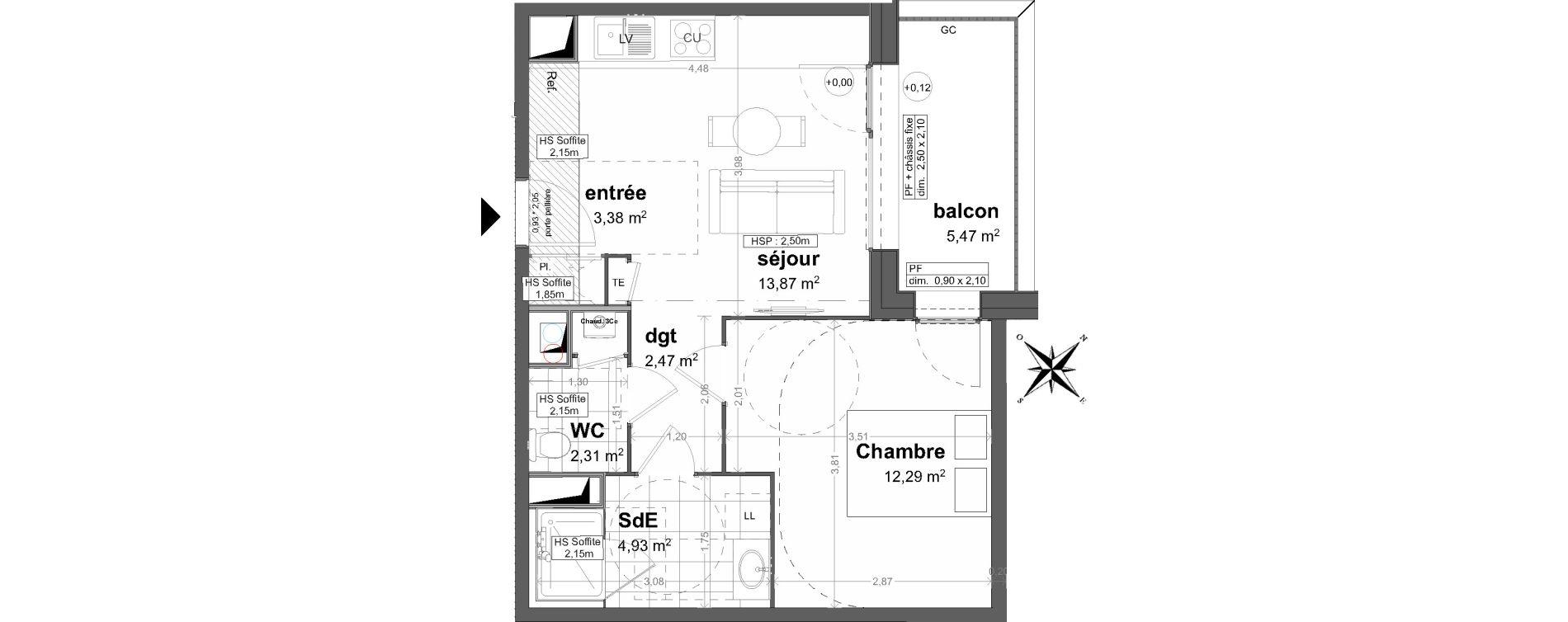 Appartement T2 de 39,25 m2 à Saint-Malo Saint-servan - solidor