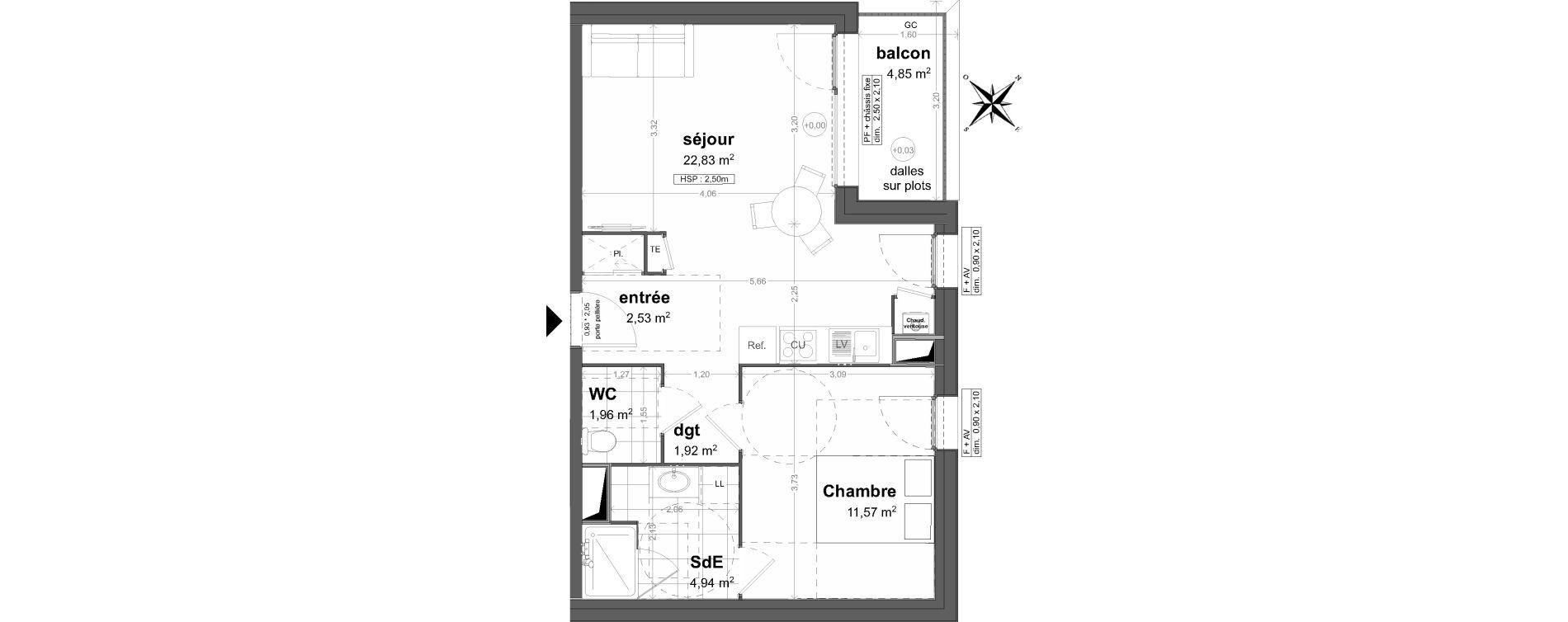 Appartement T2 de 45,75 m2 à Saint-Malo Saint-servan - solidor