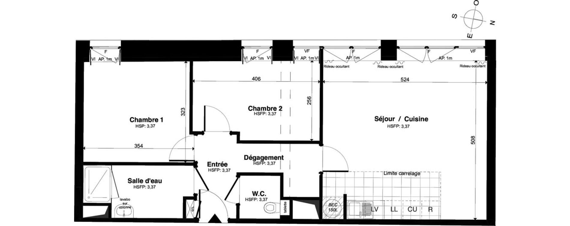 Appartement T3 de 61,17 m2 à Saint-Malo Intra-muros