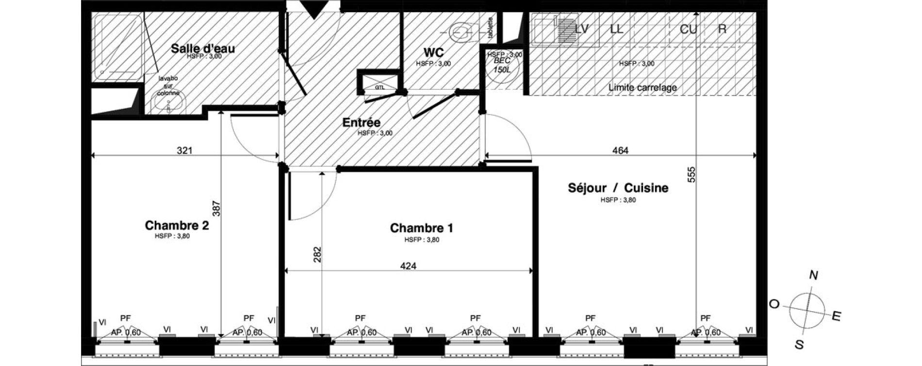 Appartement T3 de 59,77 m2 à Saint-Malo Intra-muros