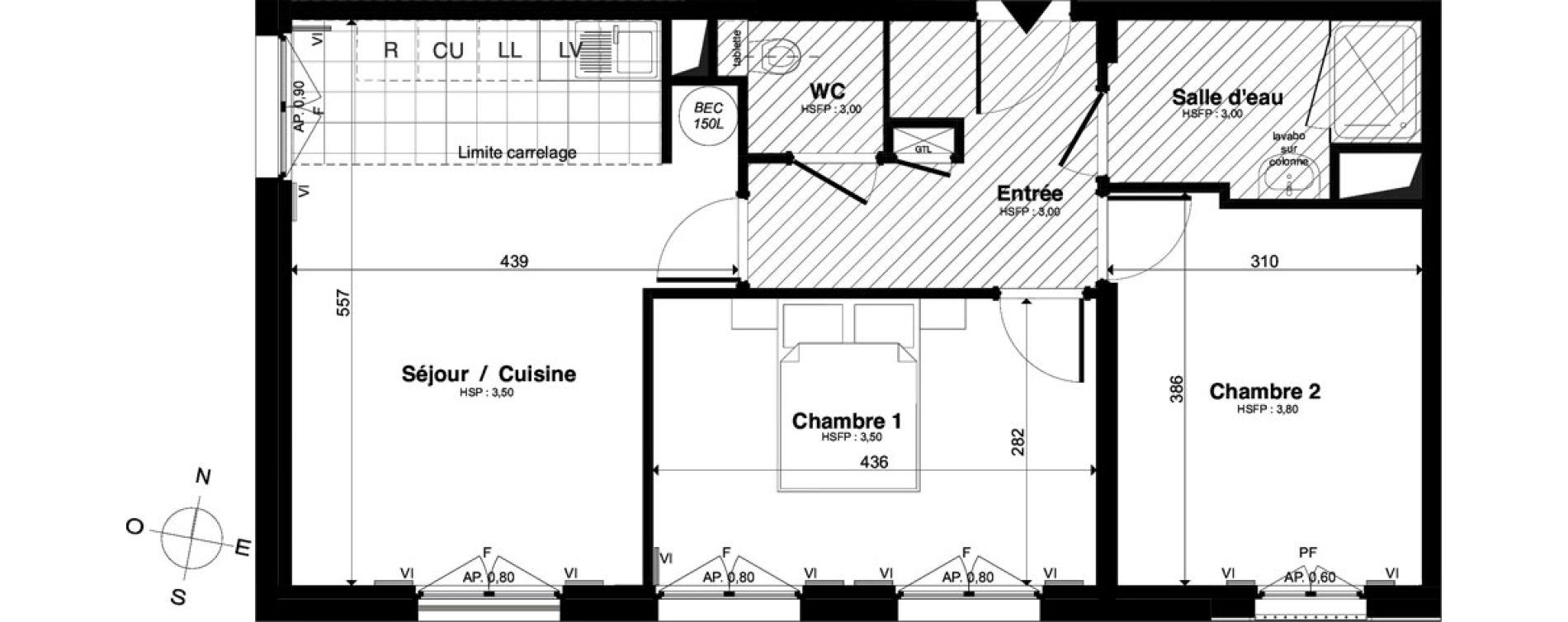 Appartement T3 de 58,08 m2 à Saint-Malo Intra-muros