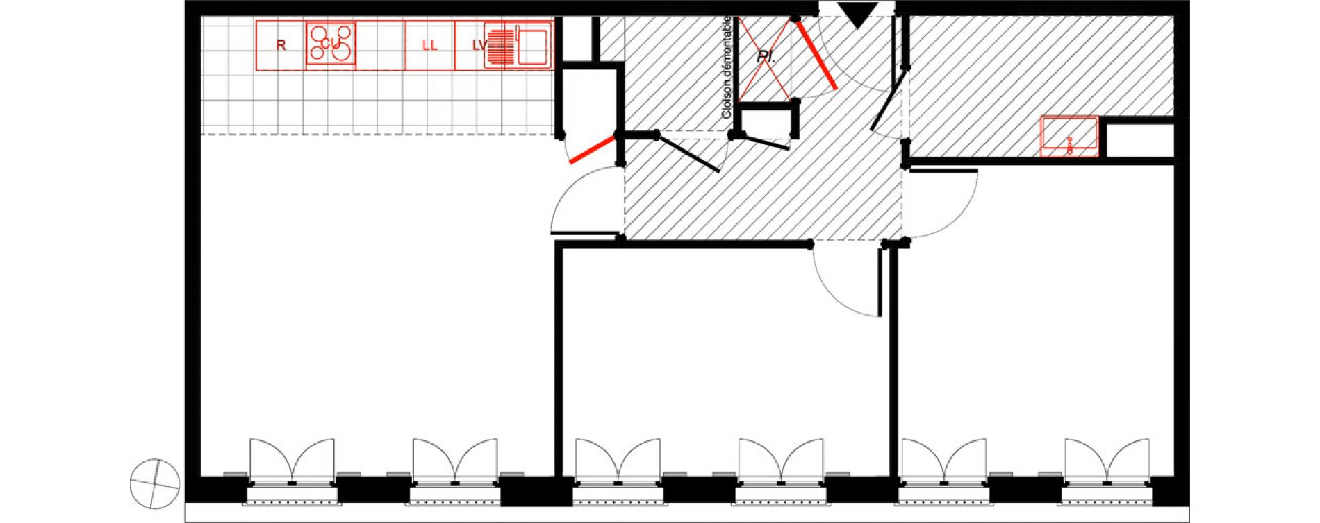 Appartement T3 de 61,93 m2 à Saint-Malo Intra-muros